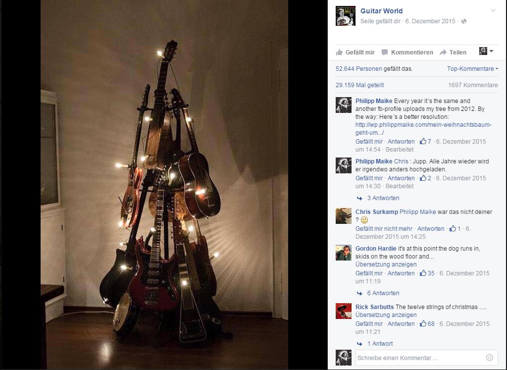 Philipp Maike Guitar Christmas Tree Guitar World Facebook